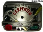 CARPENTER BELT BUCKLE + display stand. Code FC6